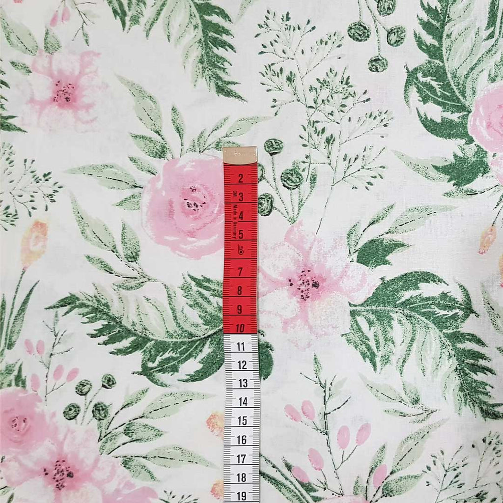 Rose Garden White Cotton, sold by half metre
