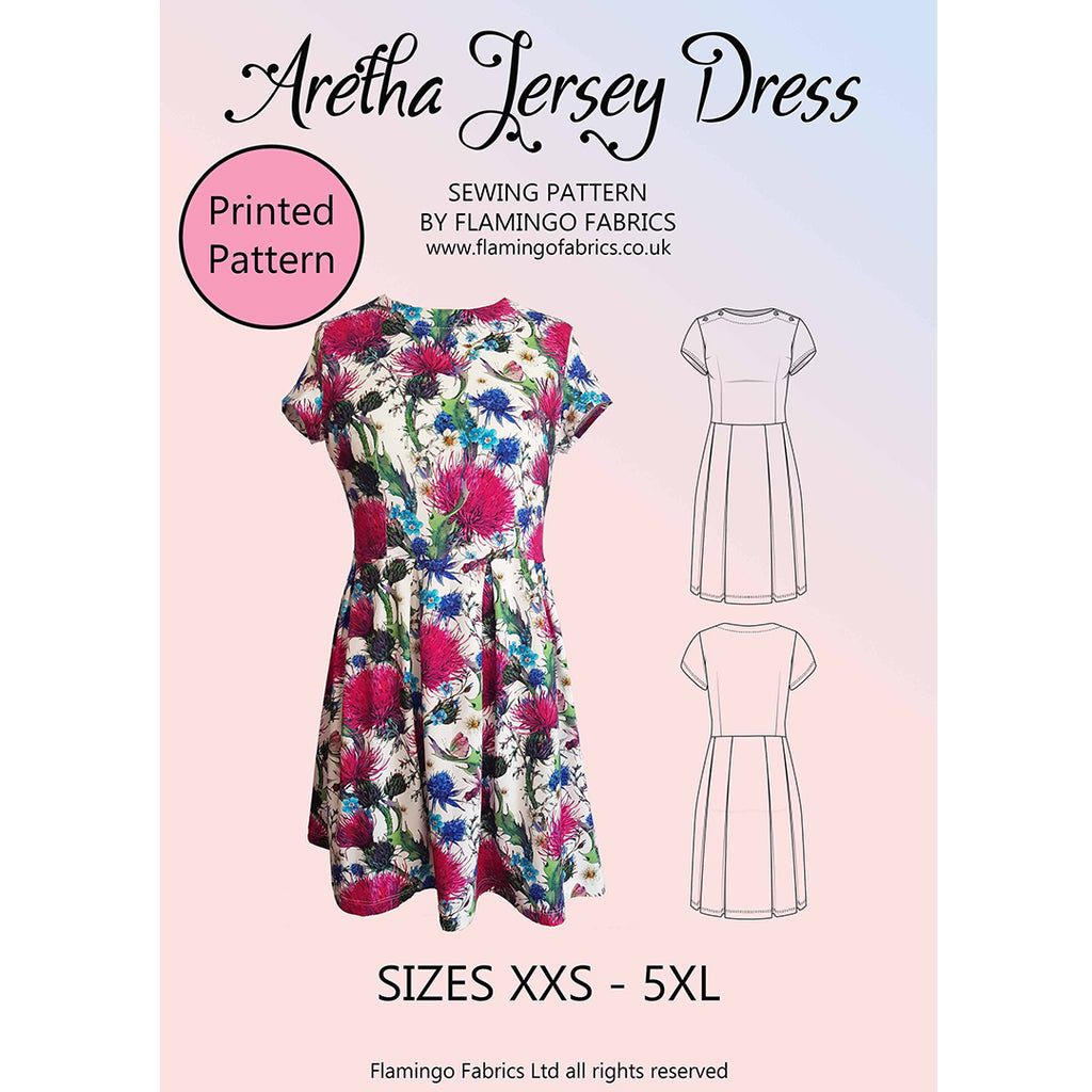 Aretha Jersey Dress Sewing Pattern Women XXS- 5XL Paper Pack