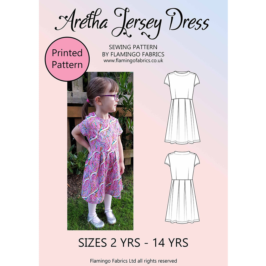 Aretha Jersey Dress Sewing Pattern Kids 2yrs-14yrs Paper Pack