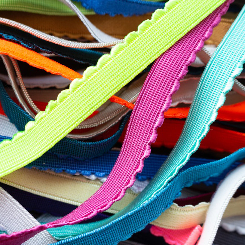 Scalloped Elastic 12mm, various colours