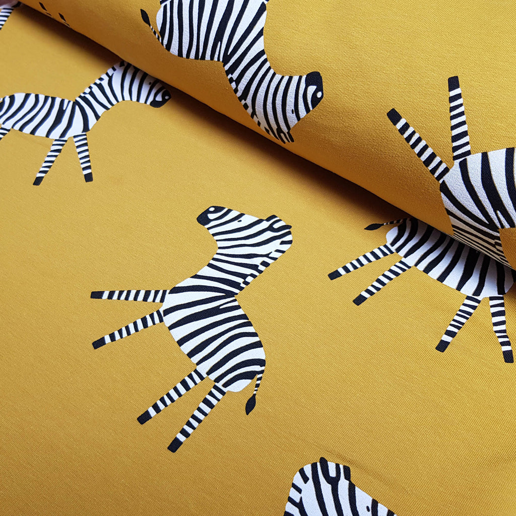 Mustard Zebras French Terry Jersey, priced by half metre