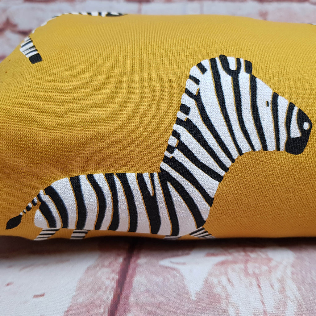Mustard Zebras French Terry Jersey, sold by half metre, pre-order 25/11