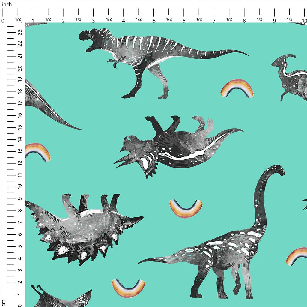 Rainbow Dinos Mint Single Jersey, sold by half metre