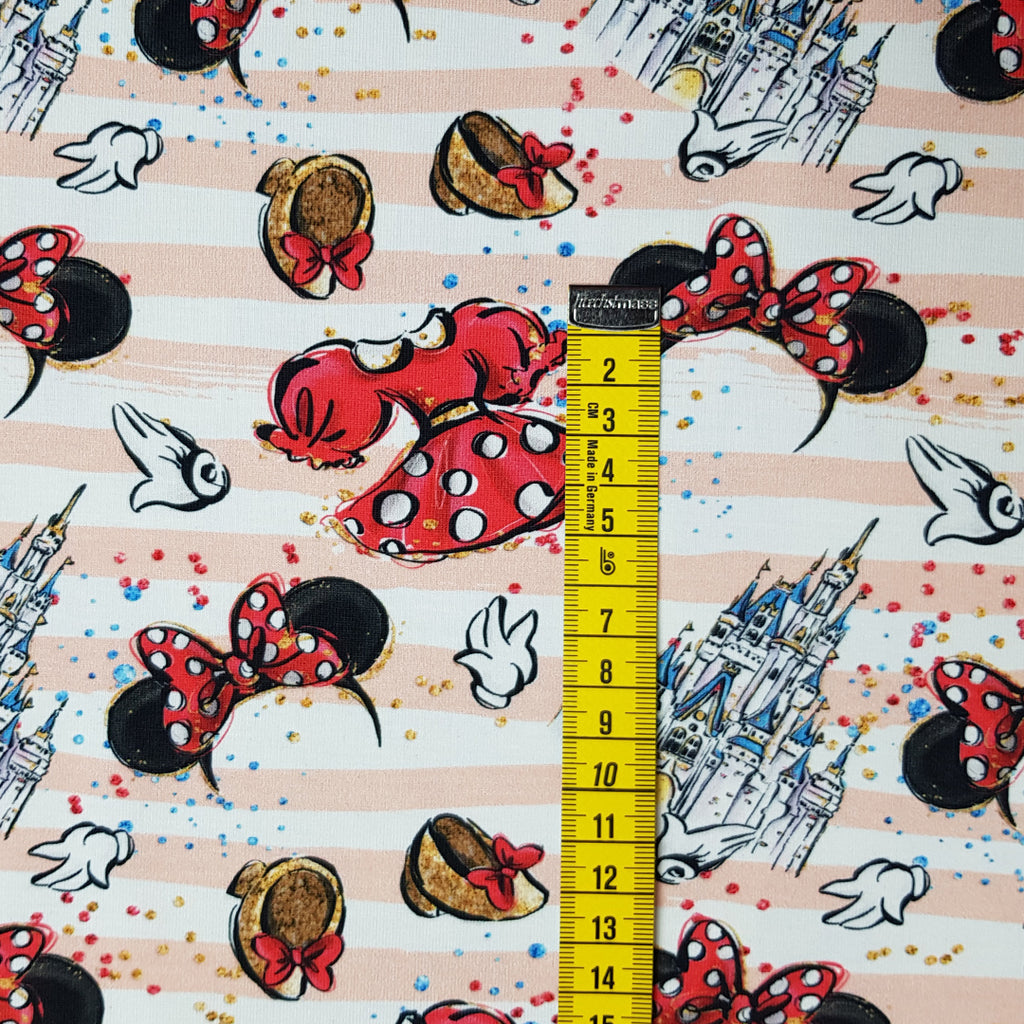 Mouse Upon A Time - Pink Stripes - Jersey, sold by half metre
