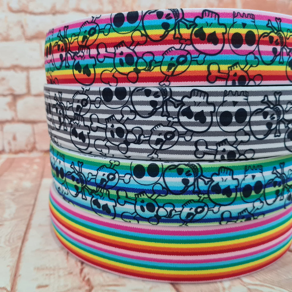 Rainbows and Skulls Elastic 40mm, various designs