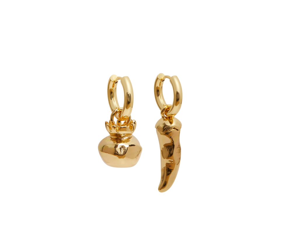 Gold Pomegranate & Chilli Earrings