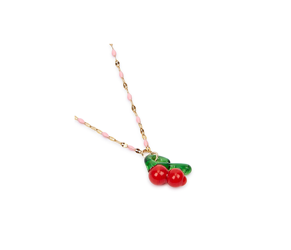 Cherry Pink Enamel Necklace