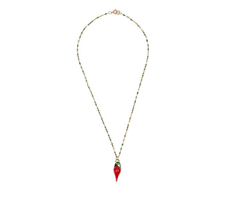 Chilli on green enamel Necklace