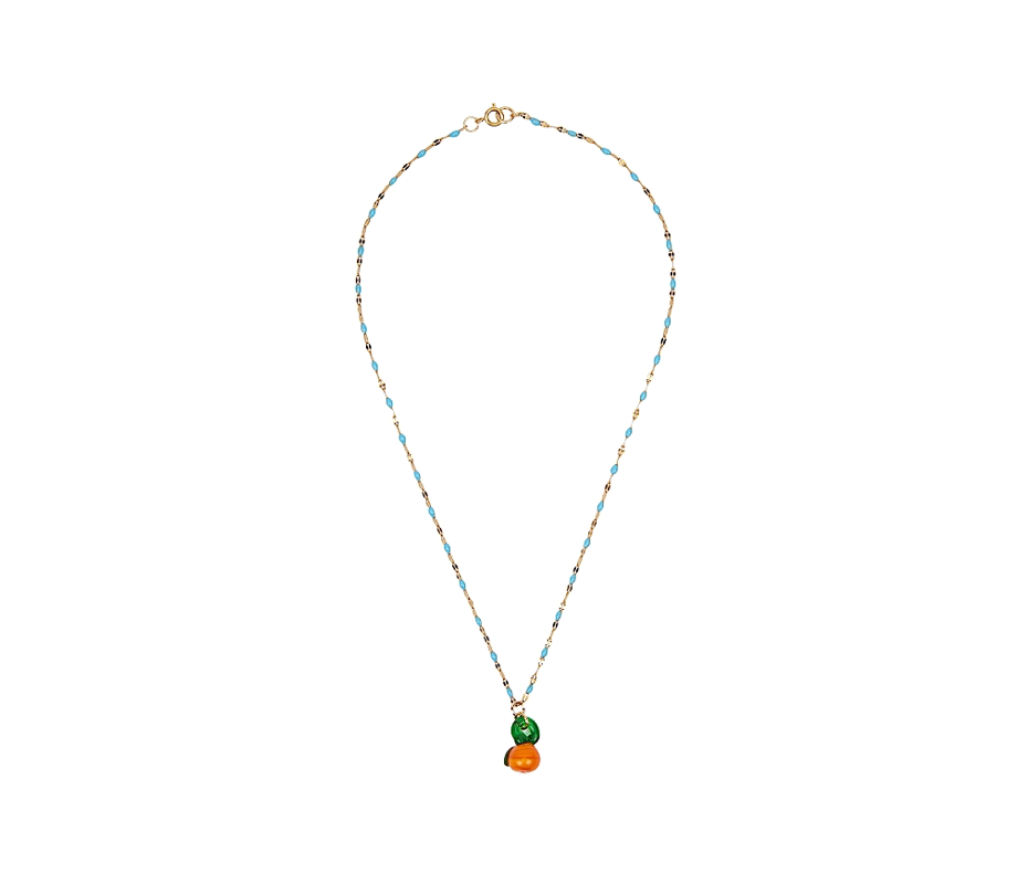 Orange Blue Enamel Necklace