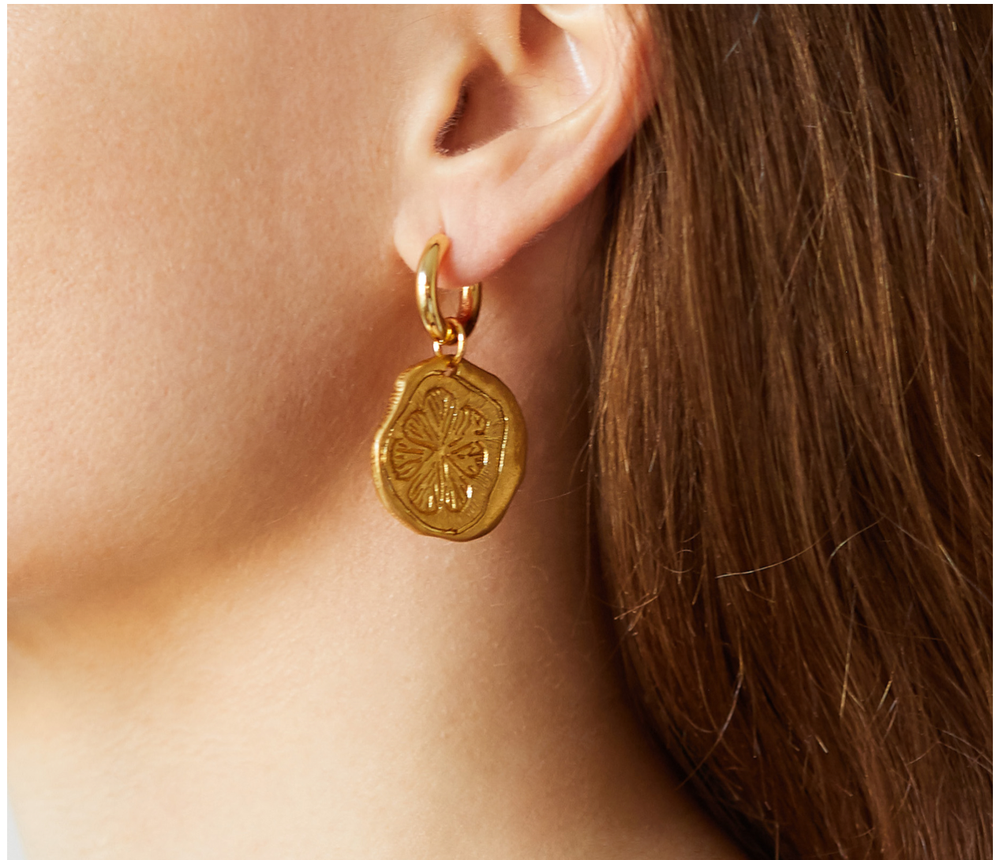 Gold Lemon Slice Earrings
