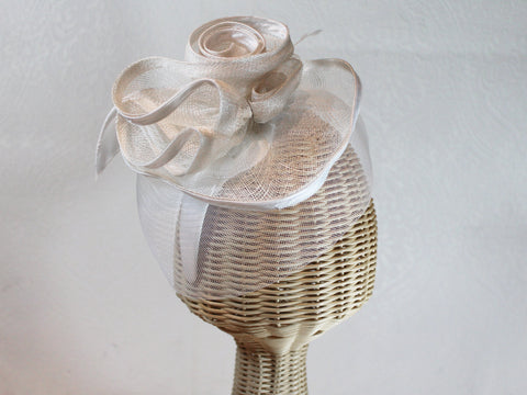 fascinator with netting and flowers ~ Doris