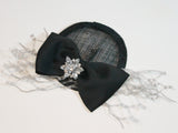 fascinator with netting and flowers ~ Royal