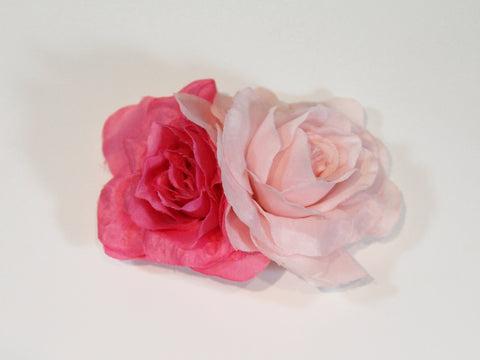 double rose flower clip ~ Rosie