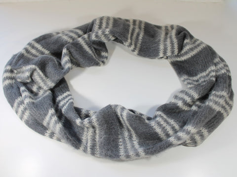 wide, cozy eternity scarf with stripes  super soft acrylic, mohair, and wool blend striped infinity scarf gift unisex
