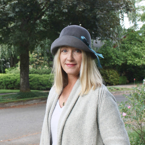 Downton inspired velour felt cloche ~ Lady Mary