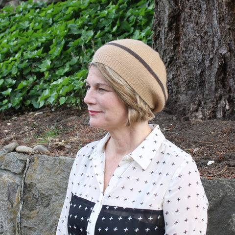 cashmere beret with stripe ~ Lara