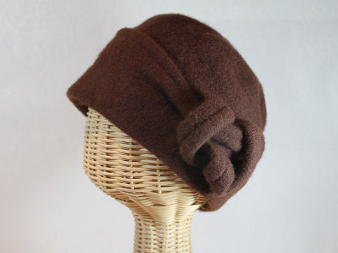 soft wool cloche  folded brim and side knot  perfect for staying cozy in cooler weather