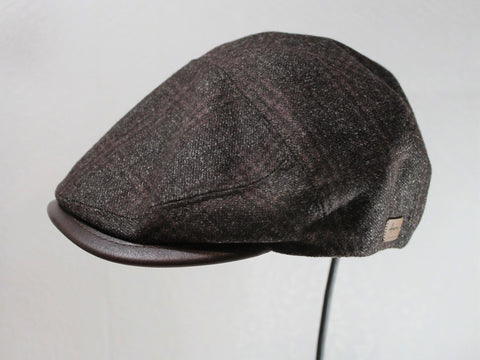 italian wool plaid driver with leather trim made in italy