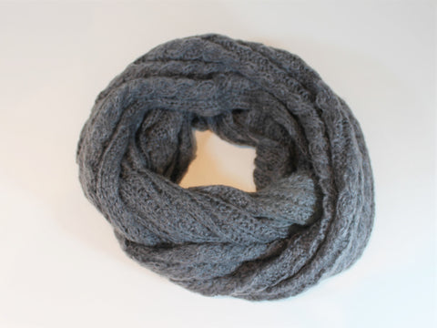 wide, cozy eternity scarf  super soft acrylic, mohair, and wool blend infinity circle chunky knit