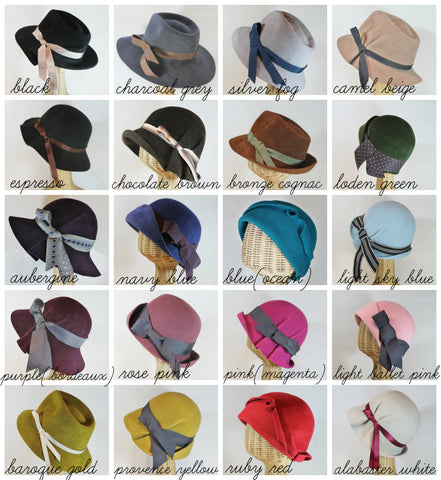 custom pleated fedora in velour felt ~ Dora