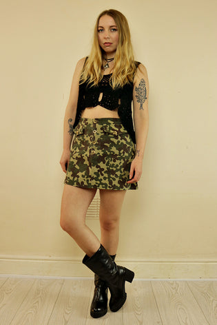Vintage 90's Camouflage Pocket Grunge Mini Skirt - Tigers Eye | Boho & Grunge Vintage Clothing & T-shirts for Women