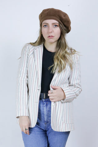 Vintage 70's Blue & Red Striped White Blazer - Tigers Eye | Boho & Grunge Vintage Clothing & T-shirts for Women