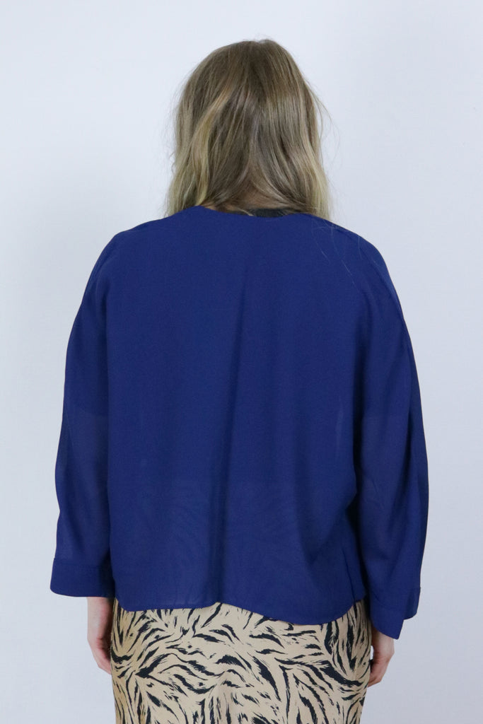 Vintage Dark Blue Semi Sheer 90's Lightweight Cover Up Jacket - Tigers Eye | Boho & Grunge Vintage Clothing & T-shirts for Women