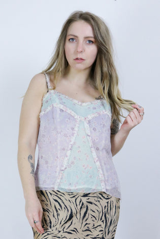 Vintage Laura Ashley 90's Patchwork Floral Pastel Cami Boho Top | Bohemian & Grunge Vintage | TIGERS EYE