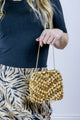 Vintage 90's Beaded Boho Sequin Gold Grab Bag Mini Purse - Tigers Eye