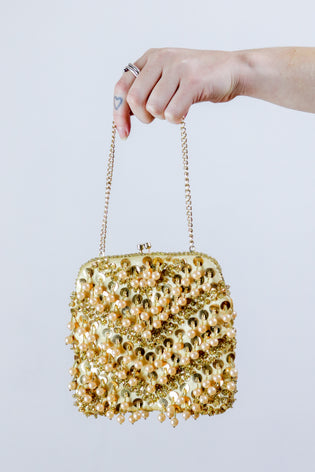 Vintage 90's Beaded Boho Sequin Gold Grab Bag Mini Purse | Bohemian & Grunge Vintage | TIGERS EYE