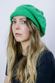 Vintage 70's Green Slouchy Beanie Bobble Pom Pom Hat - Tigers Eye
