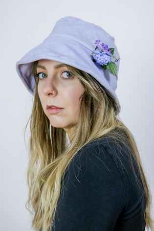 Vintage 90's Grunge Pastel Lilac Blue Velvet Bucket Hat - Tigers Eye | Boho & Grunge Vintage Clothing & T-shirts for Women