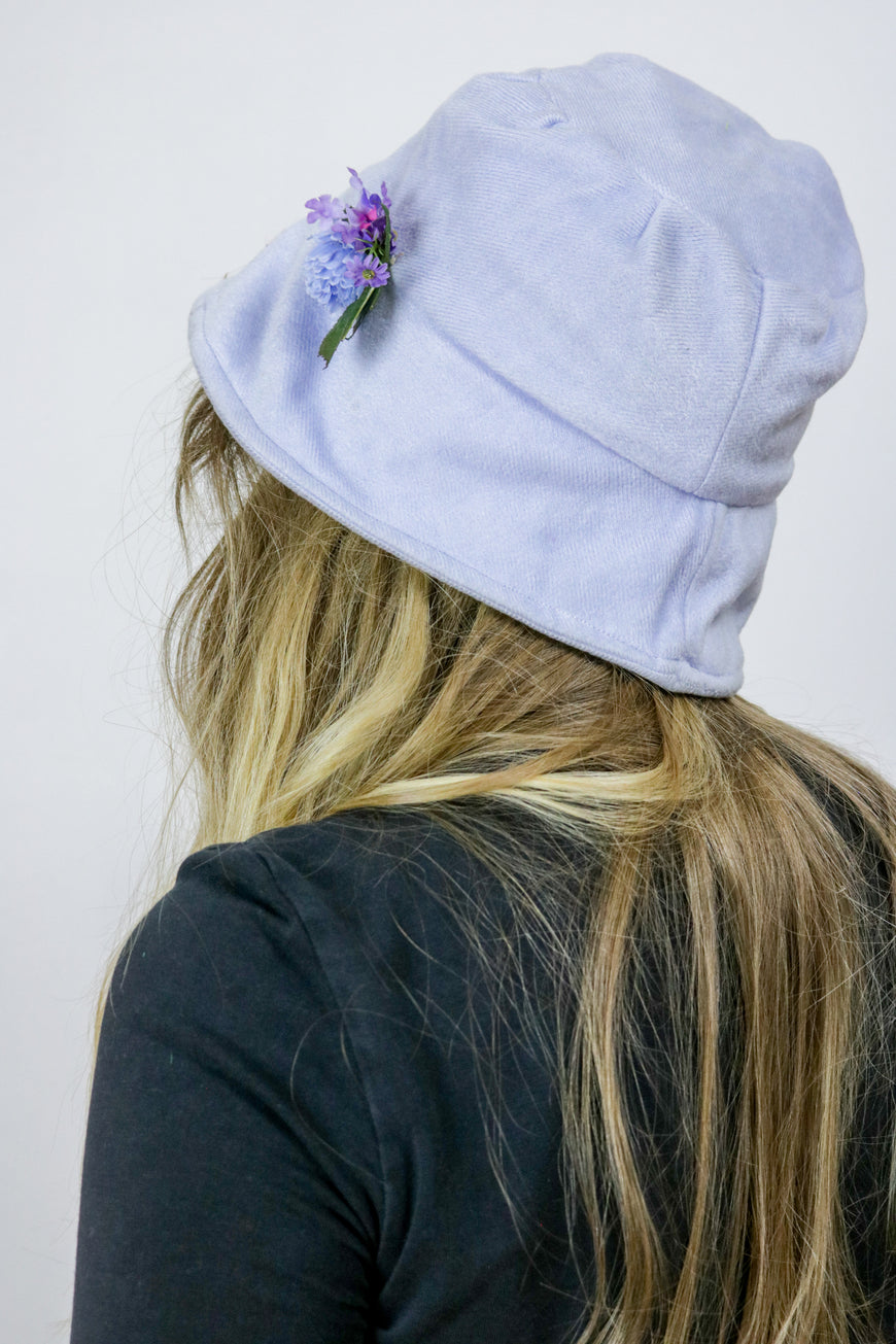 Vintage 90's Grunge Pastel Lilac Blue Velvet Bucket Hat - Tigers Eye | Boho & Grunge Vintage Clothing & T-shirts for Women (3)
