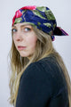 Vintage 90's Navy Rose Print Square Boho Scarf Headscarf - Tigers Eye | Boho & Grunge Vintage Clothing & T-shirts for Women