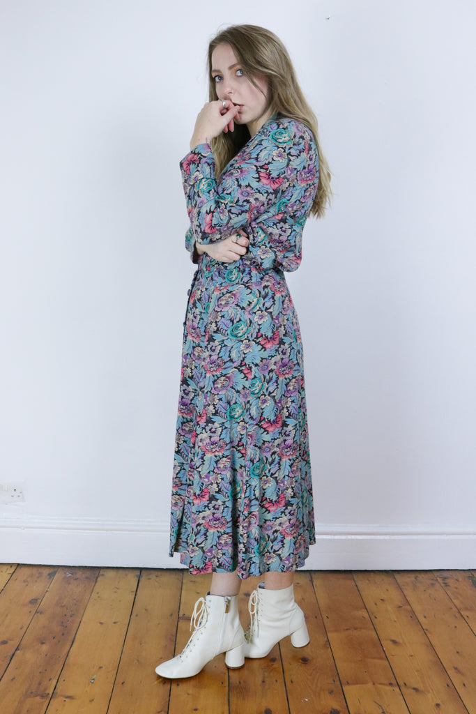 Vintage 70's Marchesa Designer Two Piece Floral Co-Ord - Tigers Eye | Boho & Grunge Vintage Clothing & T-shirts for Women
