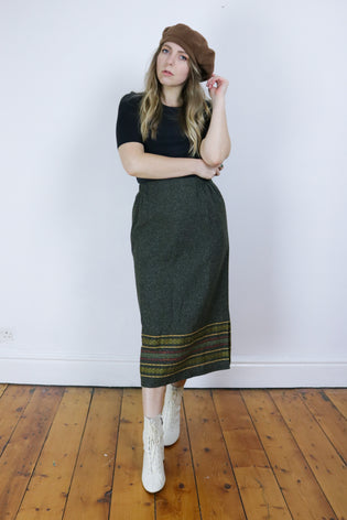 Vintage 70's Dark Green Wool Folk Boho Midi Skirt | Bohemian & Grunge Vintage | TIGERS EYE