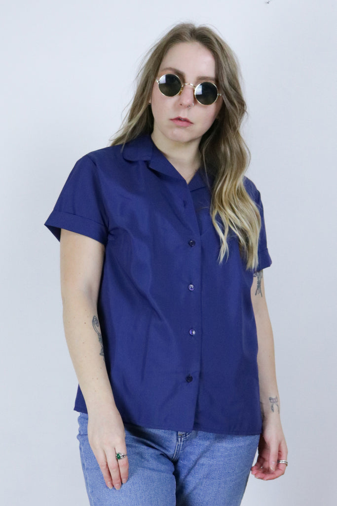 Vintage 70's Deadstock Blue Boxy Shirt - Tigers Eye | Boho & Grunge Vintage Clothing & T-shirts for Women