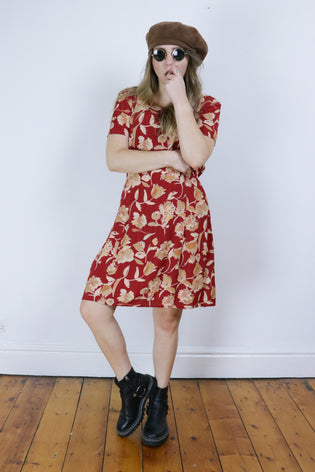 Vintage Red Autumnal Floral 90's Grunge Oversized Dress - Tigers Eye | Boho & Grunge Vintage Clothing & T-shirts for Women