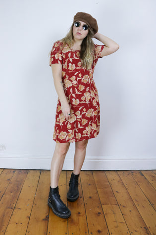 Vintage Red Autumnal Floral 90's Grunge Oversized Dress | Bohemian & Grunge Vintage | TIGERS EYE