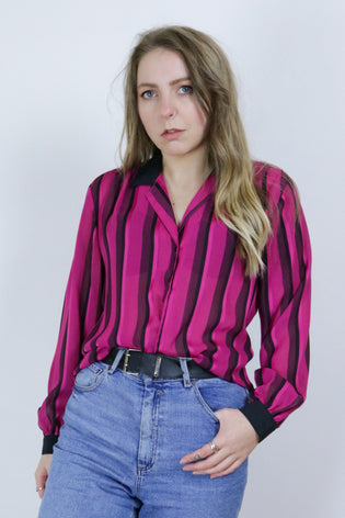 Vintage 70's Pink & Black Striped Sheer Blouse Shirt - Tigers Eye | Boho & Grunge Vintage Clothing & T-shirts for Women
