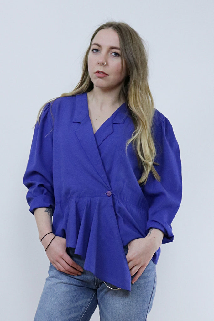 Vintage 80's Blue Wrap Blazer Shirt Long Sleeve Top - Tigers Eye
