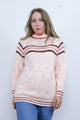 Vintage 70's Pink & Brown Striped Knitted Boho Jumper - Tigers Eye | Boho & Grunge Vintage Clothing & T-shirts for Women