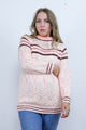 Vintage 70's Pink & Brown Striped Knitted Boho Jumper - Tigers Eye