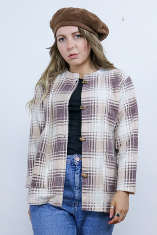 Vintage 70's Cream & Brown Tartan Checked Fleece Shacket - Tigers Eye | Boho & Grunge Vintage Clothing & T-shirts for Women