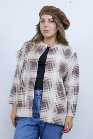 Vintage 70's Cream & Brown Tartan Checked Fleece Shacket | Bohemian & Grunge Vintage | TIGERS EYE