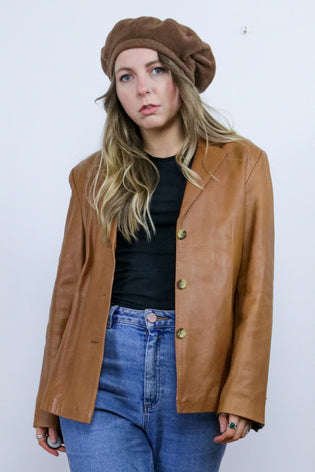 Vintage 90's Tan Butter Soft Leather Blazer Jacket Coat - Tigers Eye | Boho & Grunge Vintage Clothing & T-shirts for Women