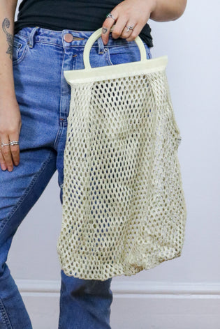 Vintage 70's Cream Fishnet Tote Bag - Tigers Eye | Boho & Grunge Vintage Clothing & T-shirts for Women