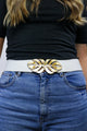 Vintage 80's White & Gold Peacock Feather Waist Cincher Belt - Tigers Eye