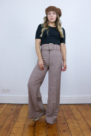 Vintage 70's Brown Check High Waisted Wide Leg Flare Trousers - Tigers Eye | Boho & Grunge Vintage Clothing & T-shirts for Women