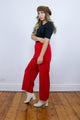 Vintage 70's Red Woolen Knit Cropped Wide Leg Trousers Pants - Tigers Eye | Boho & Grunge Vintage Clothing & T-shirts for Women